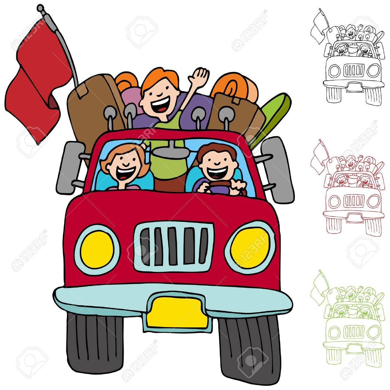 An image of a family riding in a pickup truck with luggage and boxes. Stock Vector - 10302342