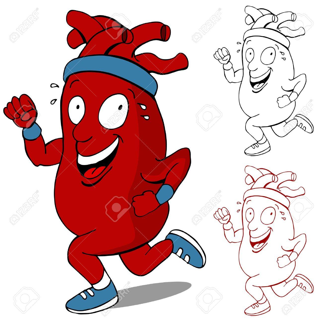 An image of a healthy heart running cartoon character. Stock Vector - 10302338