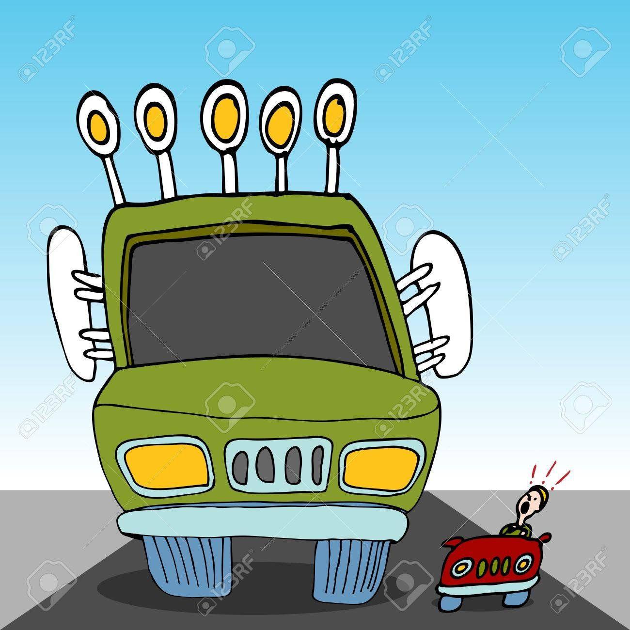 An image of a monster sized truck driving next to a tiny car. Stock Vector - 10391219