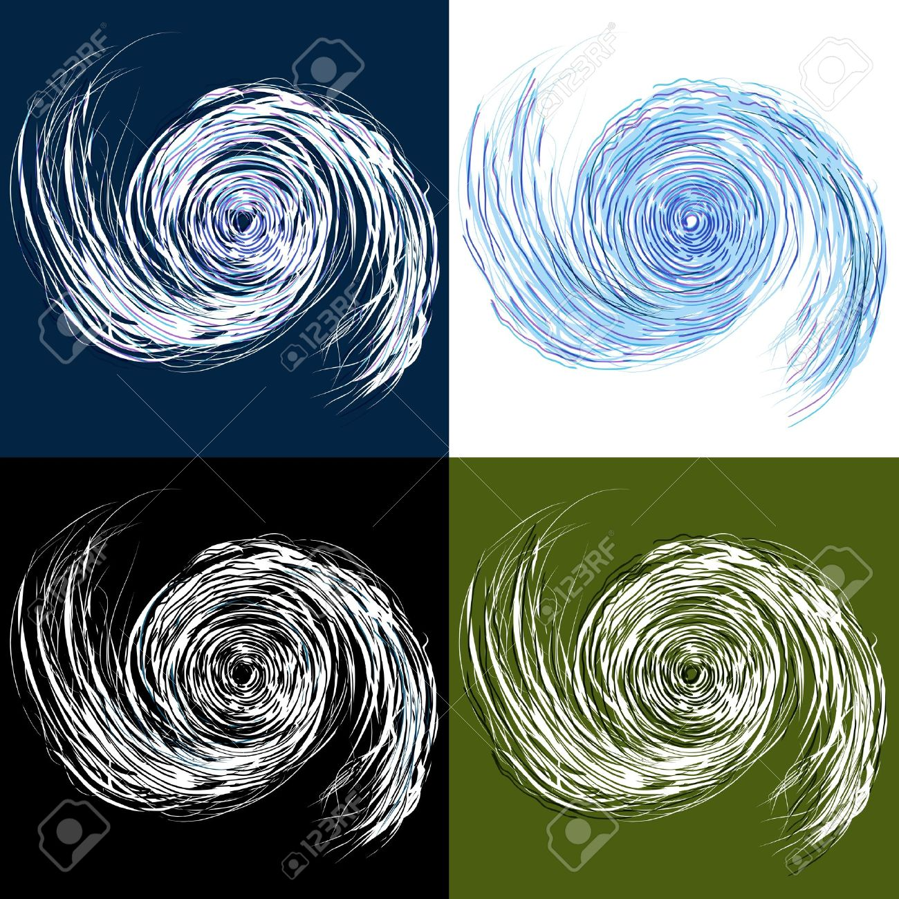 An image of a set of hurricane drawings. Stock Vector - 10517682