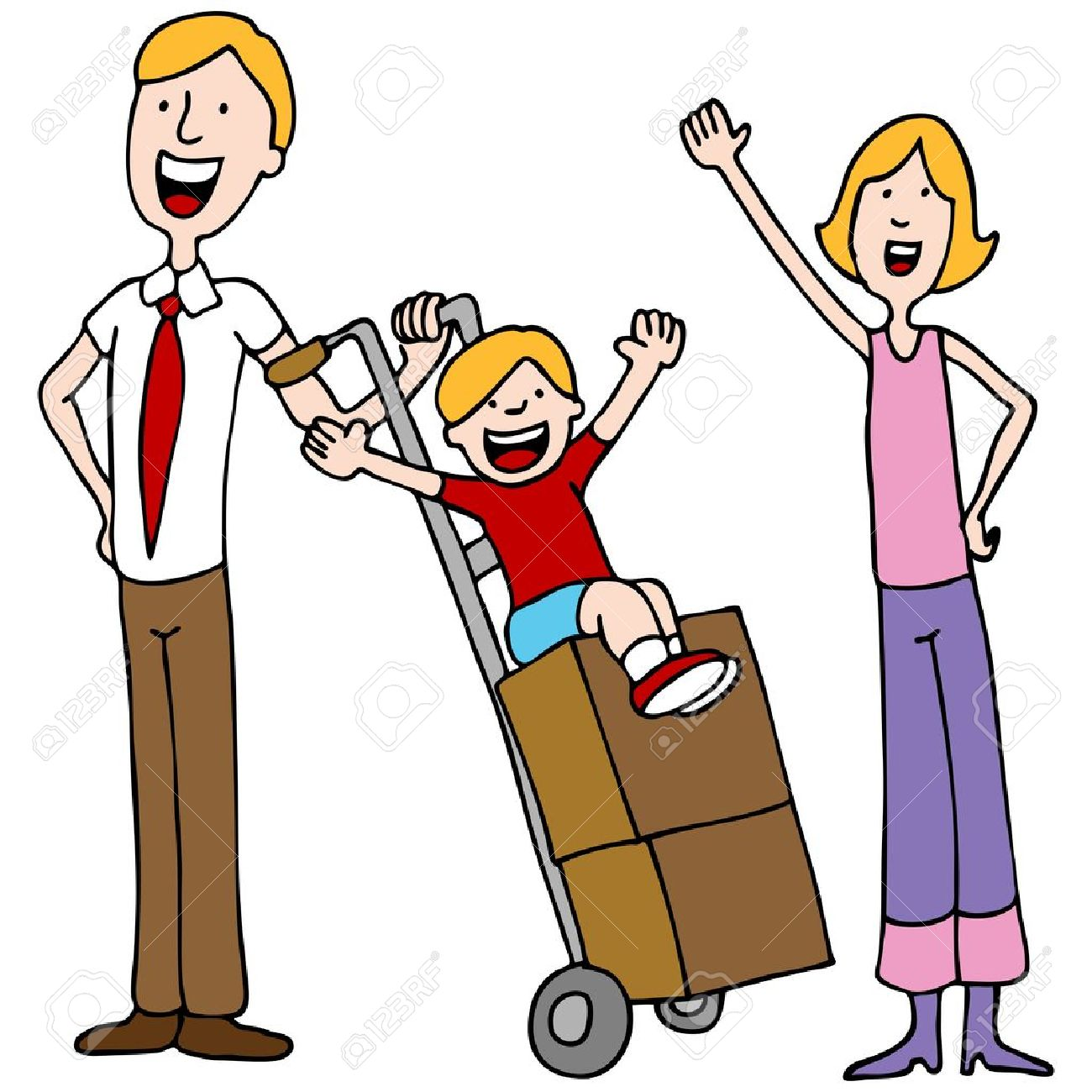 An image of a family getting ready to move. Stock Vector - 10787475
