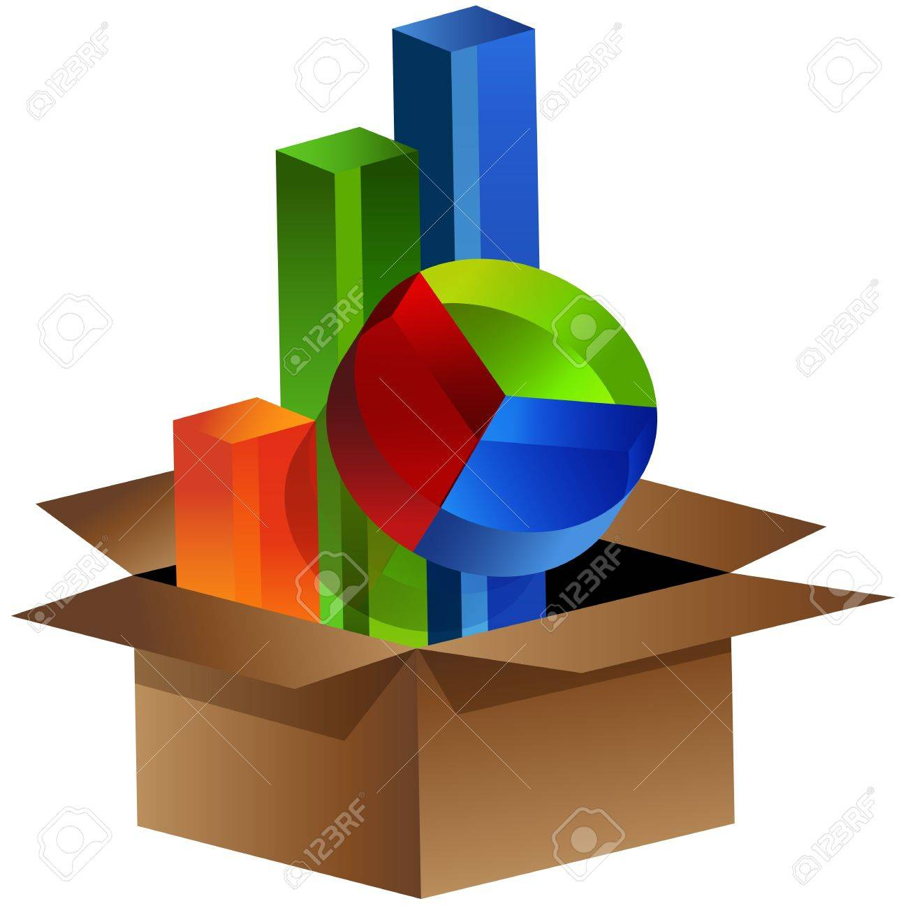 An image of business charts coming out of a box. Stock Vector - 10877503