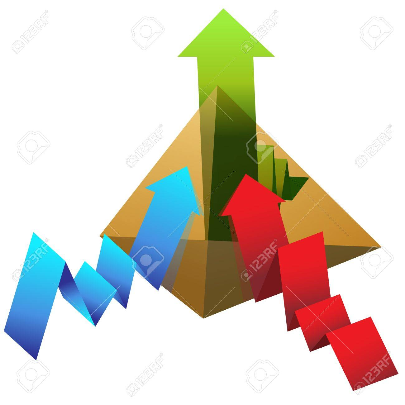 An image of a pyramid with line chart arrows. Stock Vector - 10933065