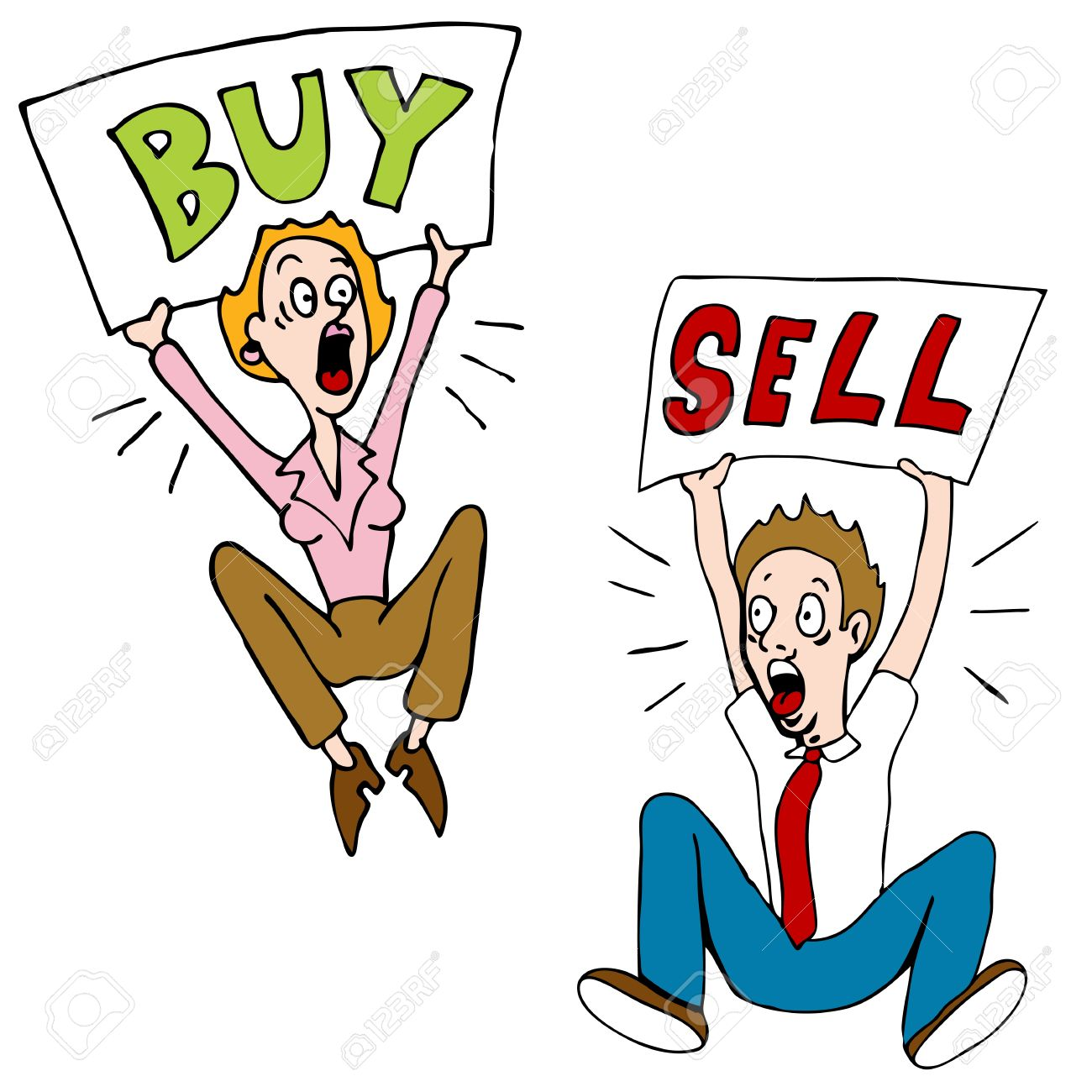 an image of a stock market investors with buy sell signs royalty rh 123rf com stock market clip art images stock market clipart free