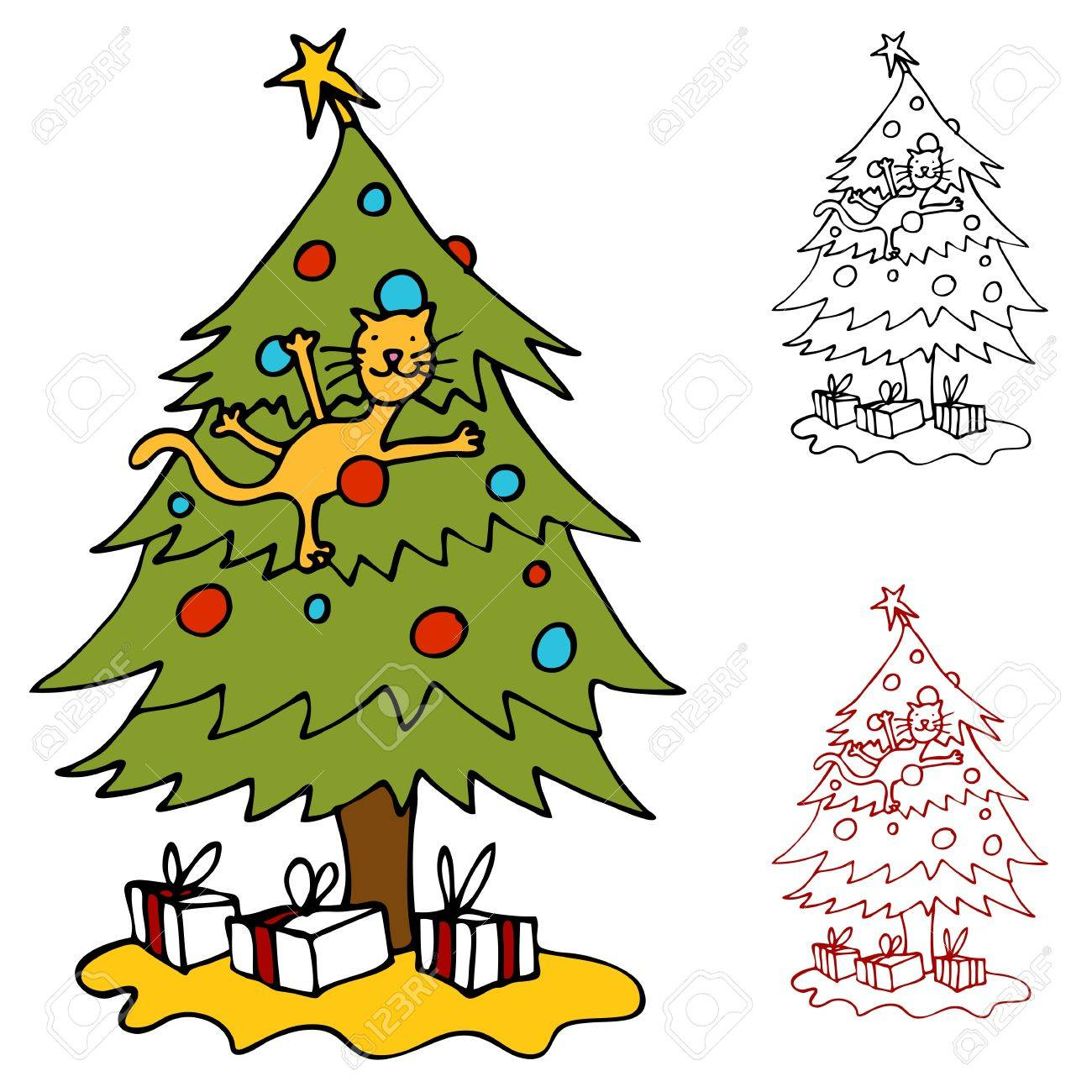 an image of a cat climbing a christmas tree royalty free cliparts