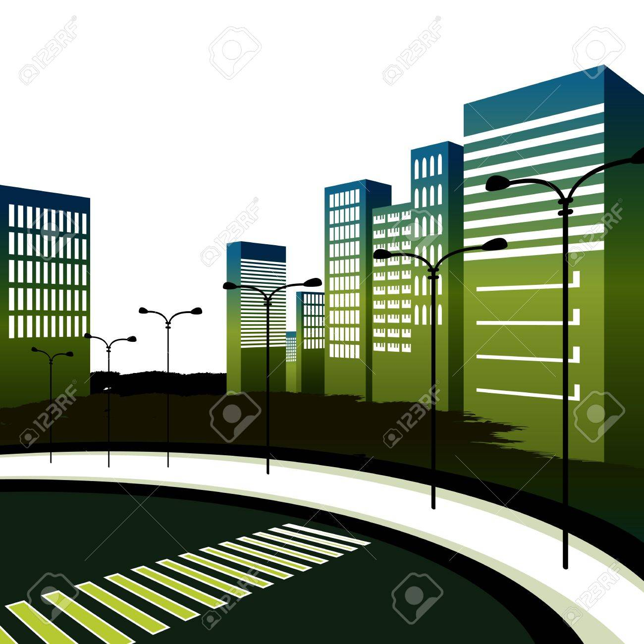 An image of a crosswalk in a large downtown city. Stock Vector - 11386804