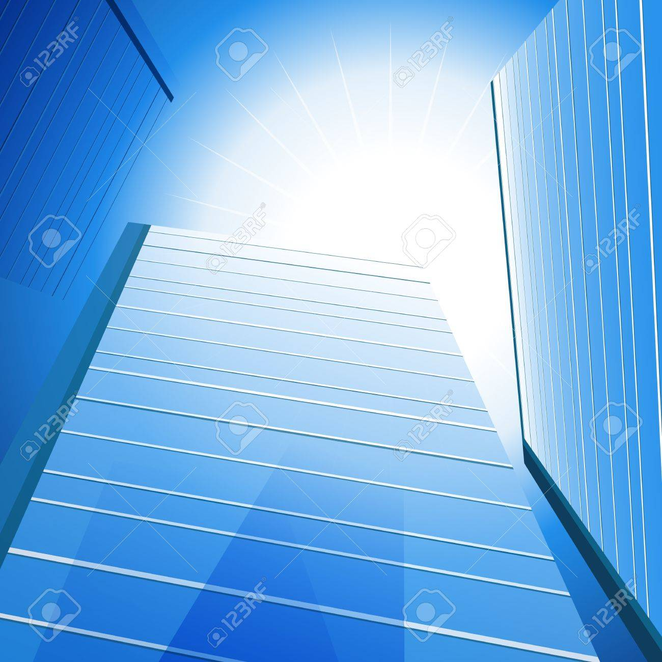 An image of a three tall glass buildings under the sun. Stock Vector - 11386806