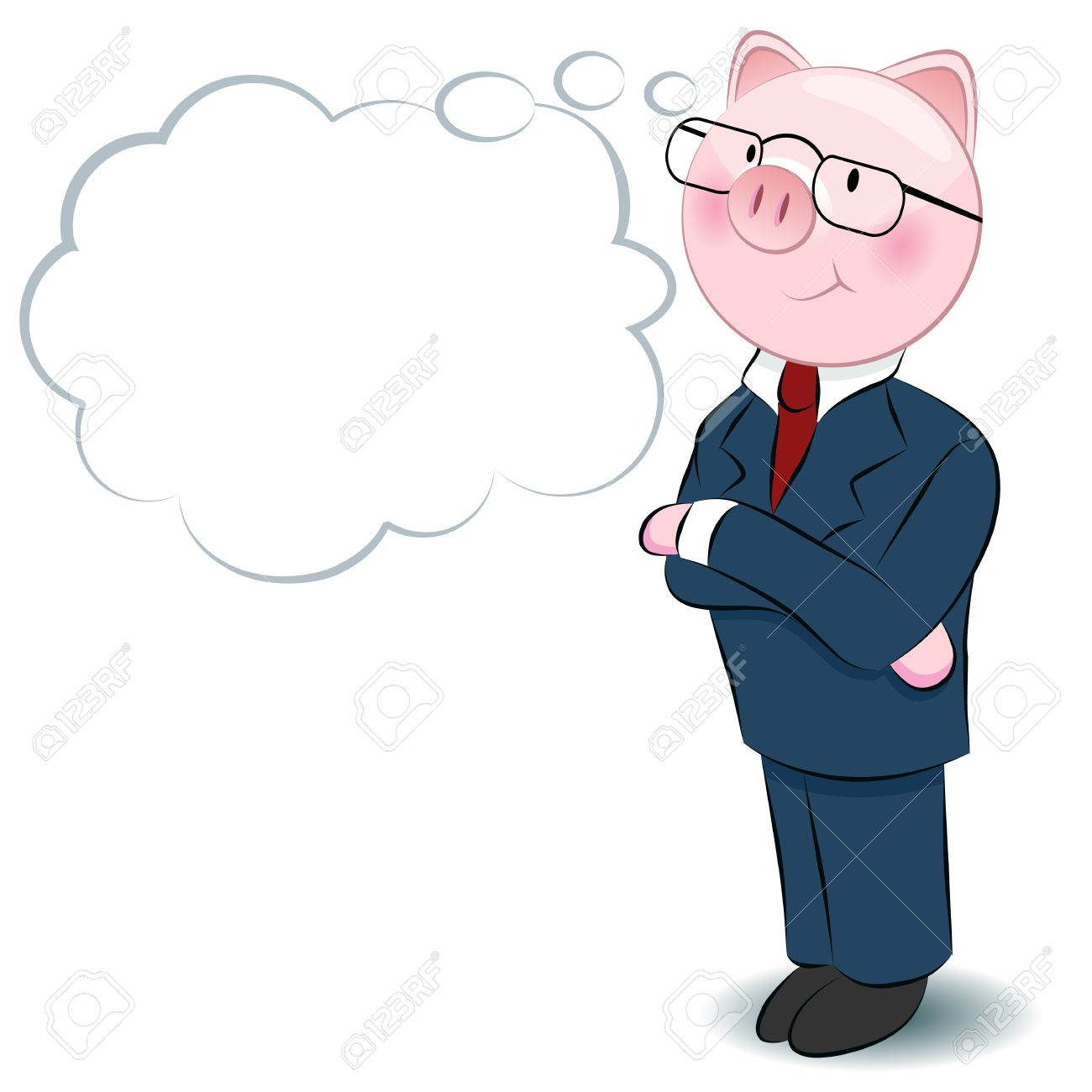 An image of a thinking businessman pig. Stock Vector - 11973780