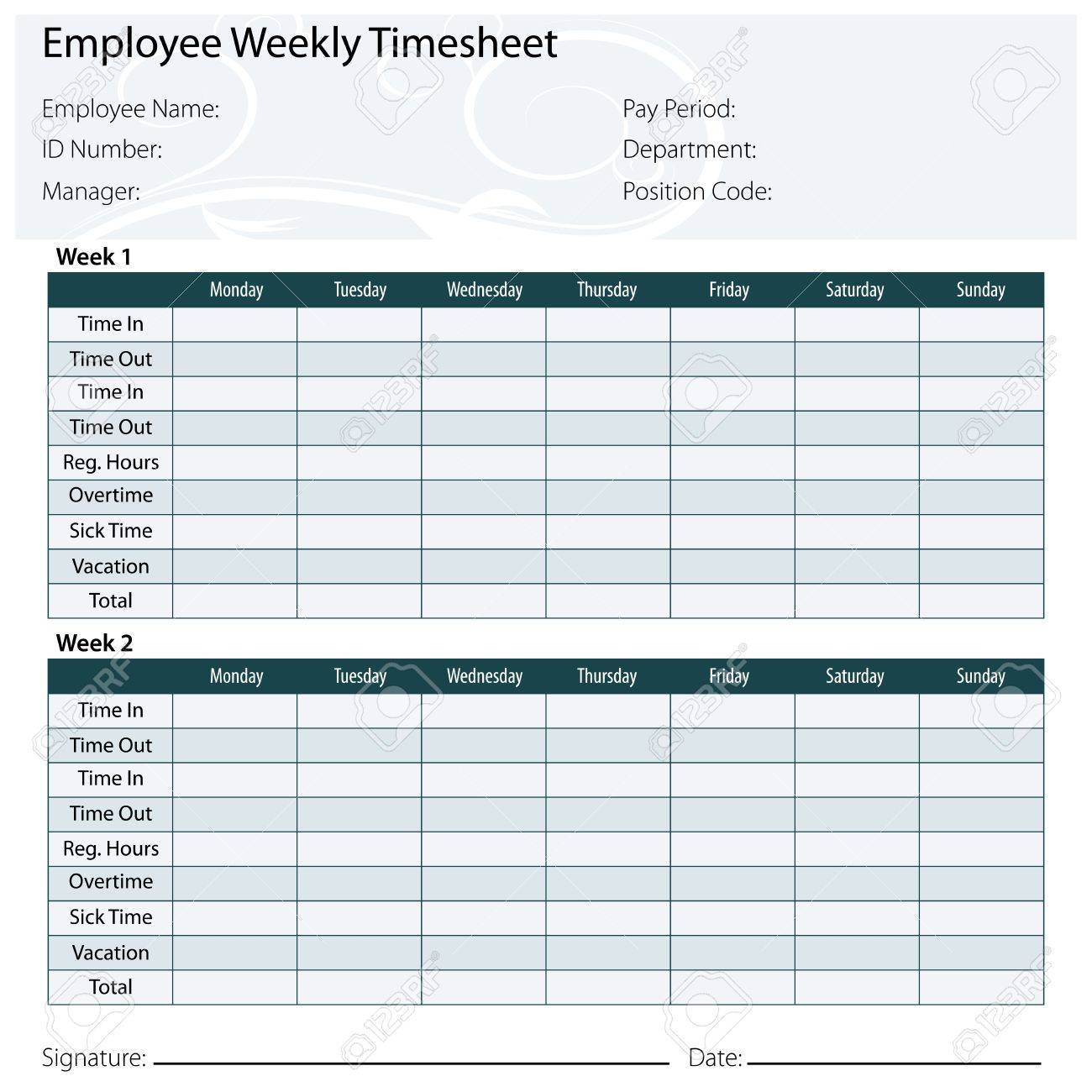 An Image Of A Employee Timesheet Template. Royalty Free Cliparts ...