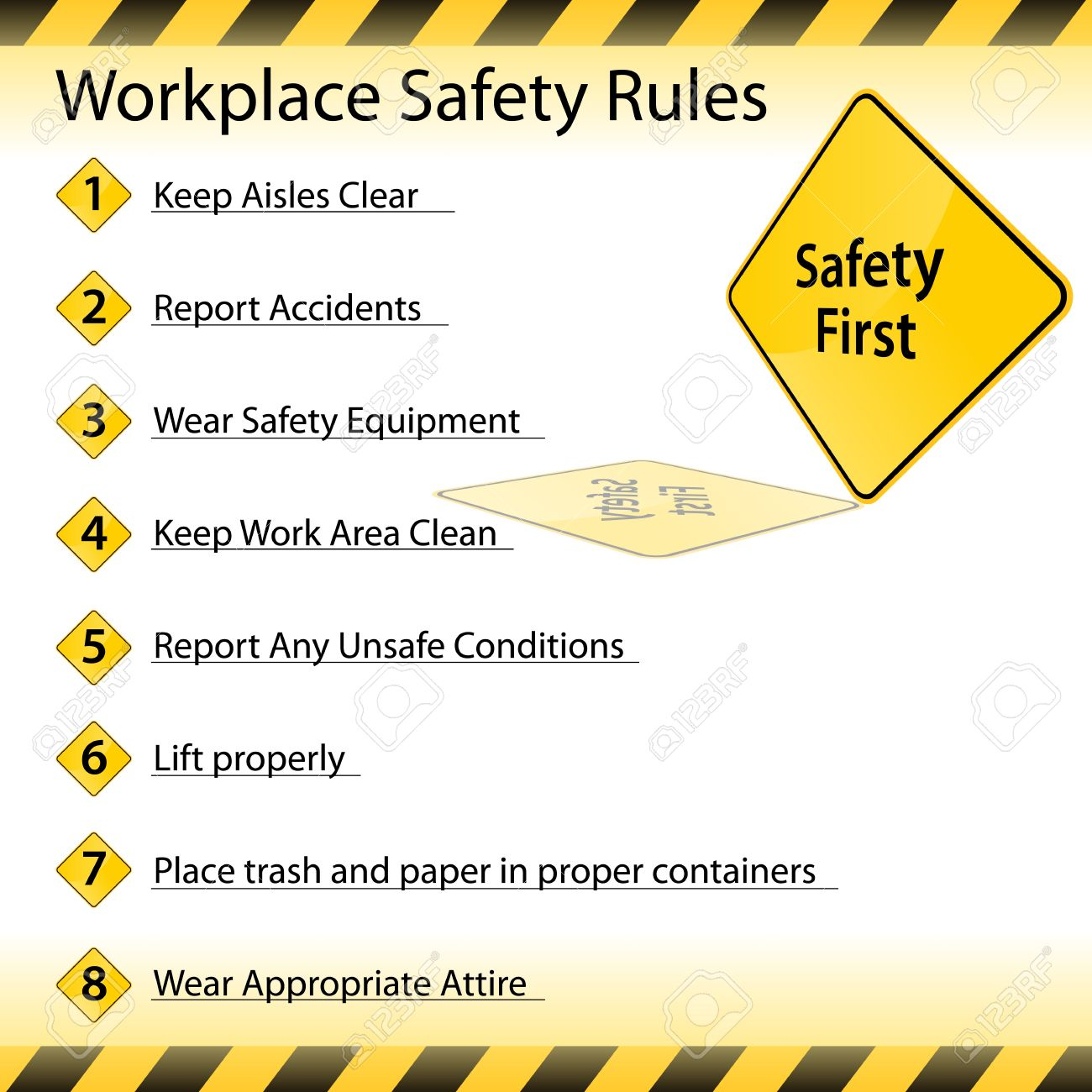 an image of a workplace safety rules chart royalty free cliparts