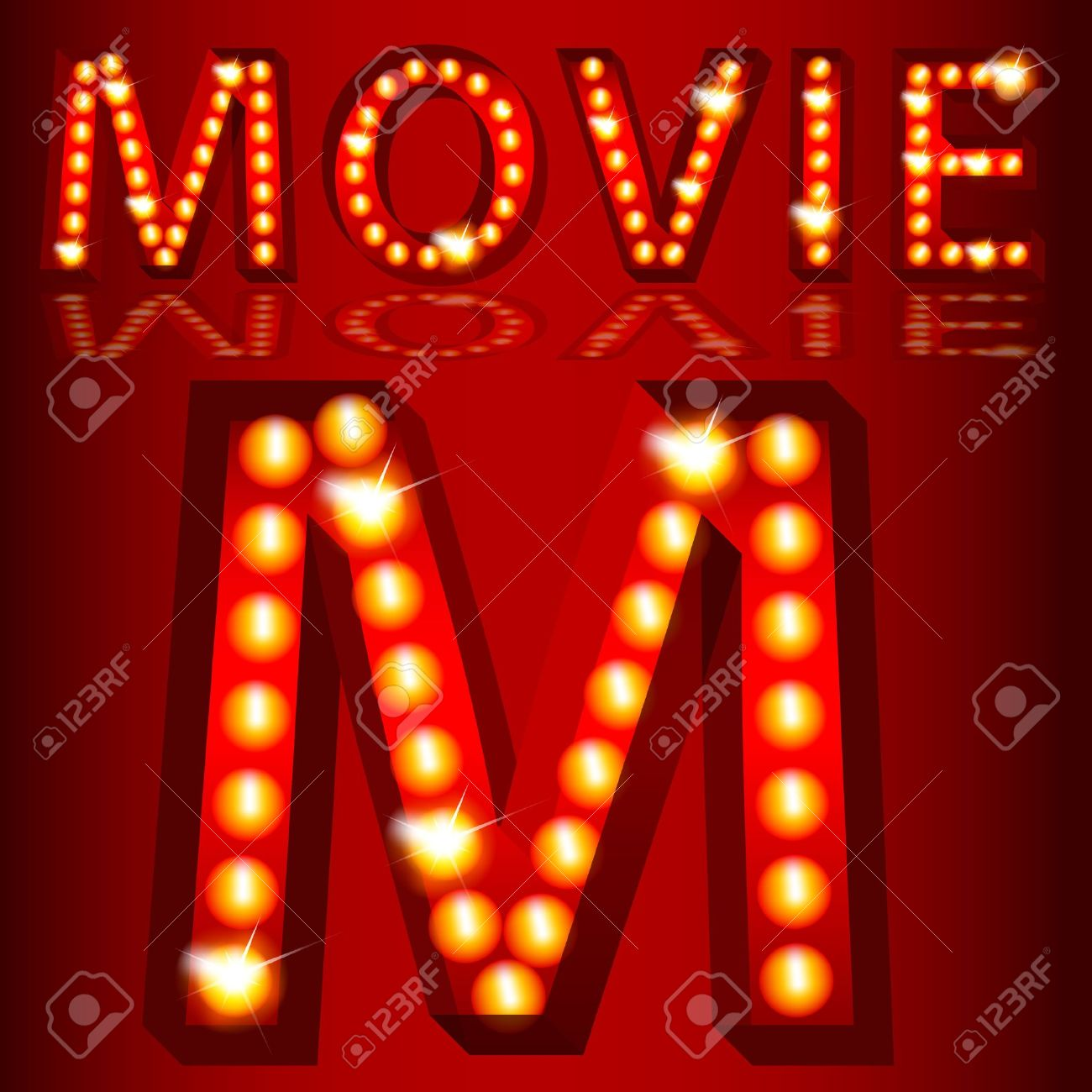 An image of a theatrical lights 3D movie text. Stock Vector - 12336903