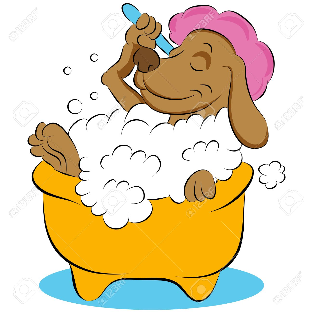An image of a dog taking a bubble bath. Stock Vector - 12774008