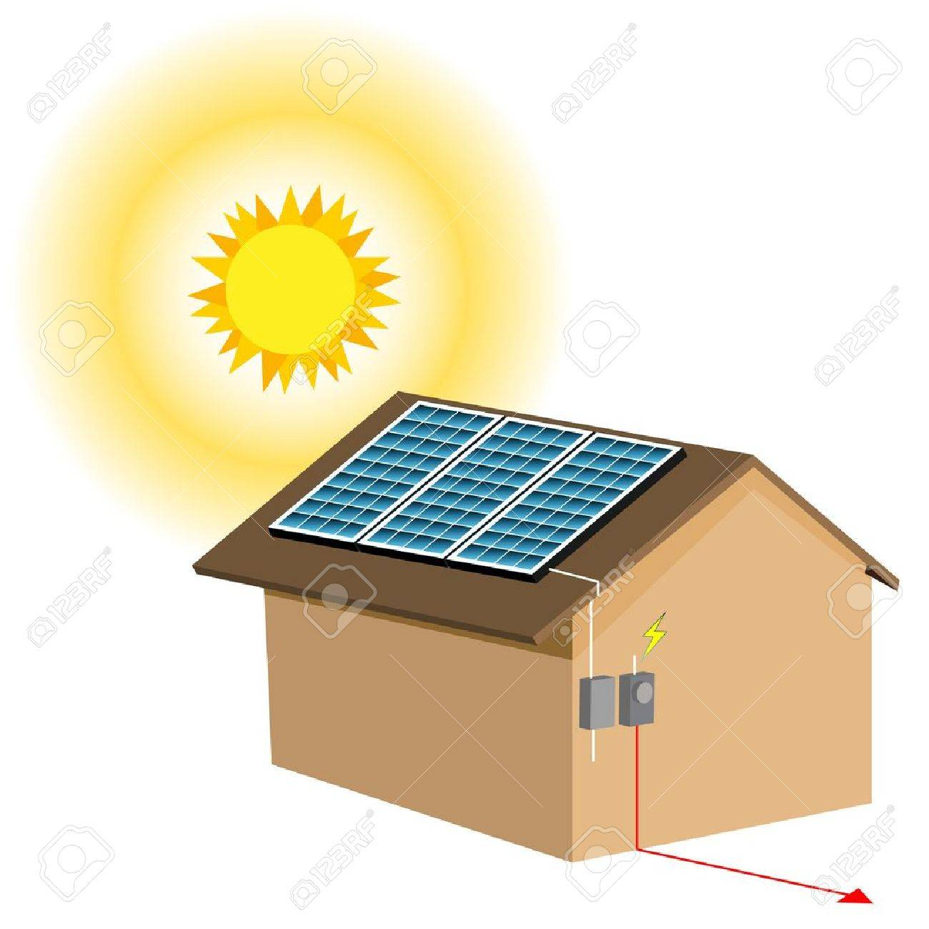 an image of a residential solar panel system royalty free cliparts rh 123rf com solar energy clipart images solar energy free clipart