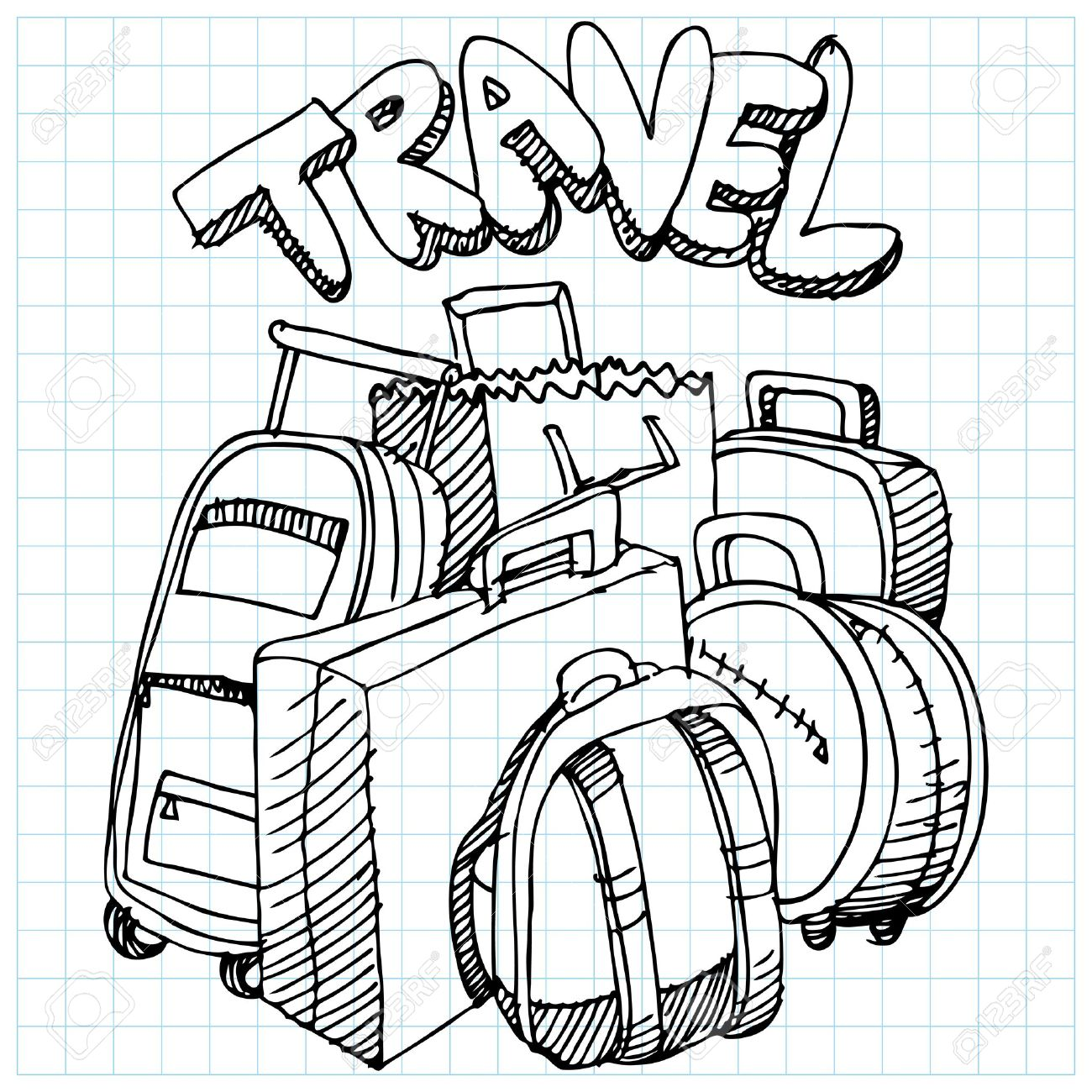 an image of a travel bag drawing royalty free cliparts vectors