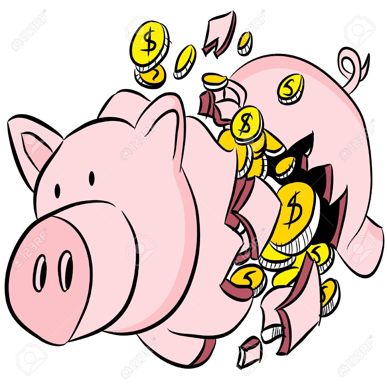 an image of a broken piggy bank royalty free cliparts vectors and rh 123rf com