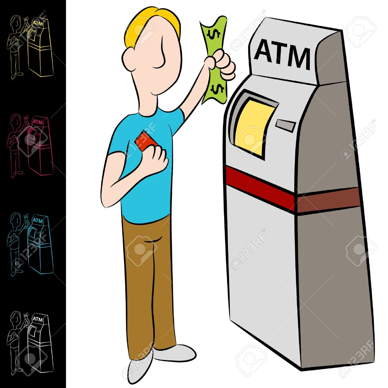 An image of a man using a bank atm machine. Stock Vector - 14504534