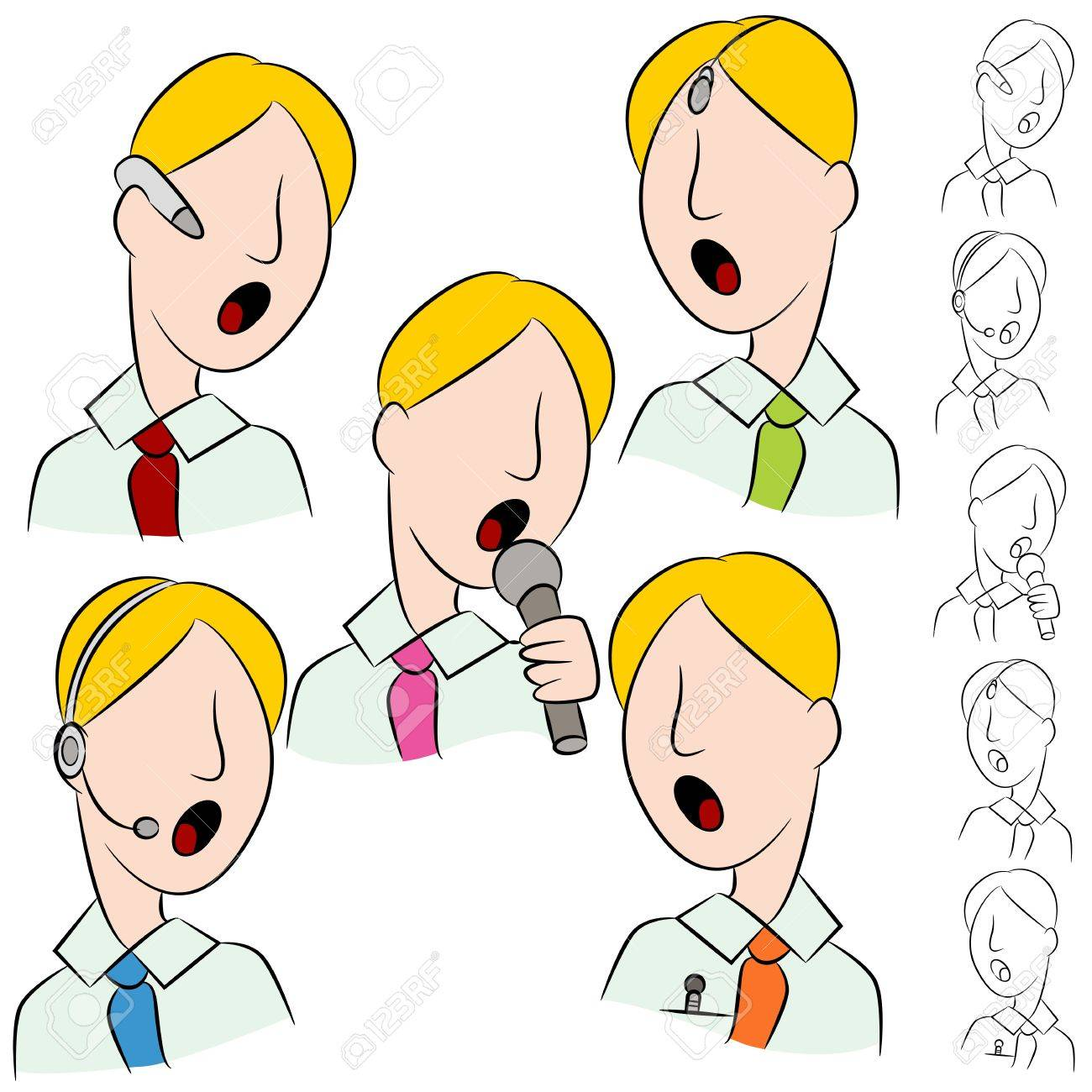 An image of a businessman public speaker microphone set. Stock Vector - 14504530