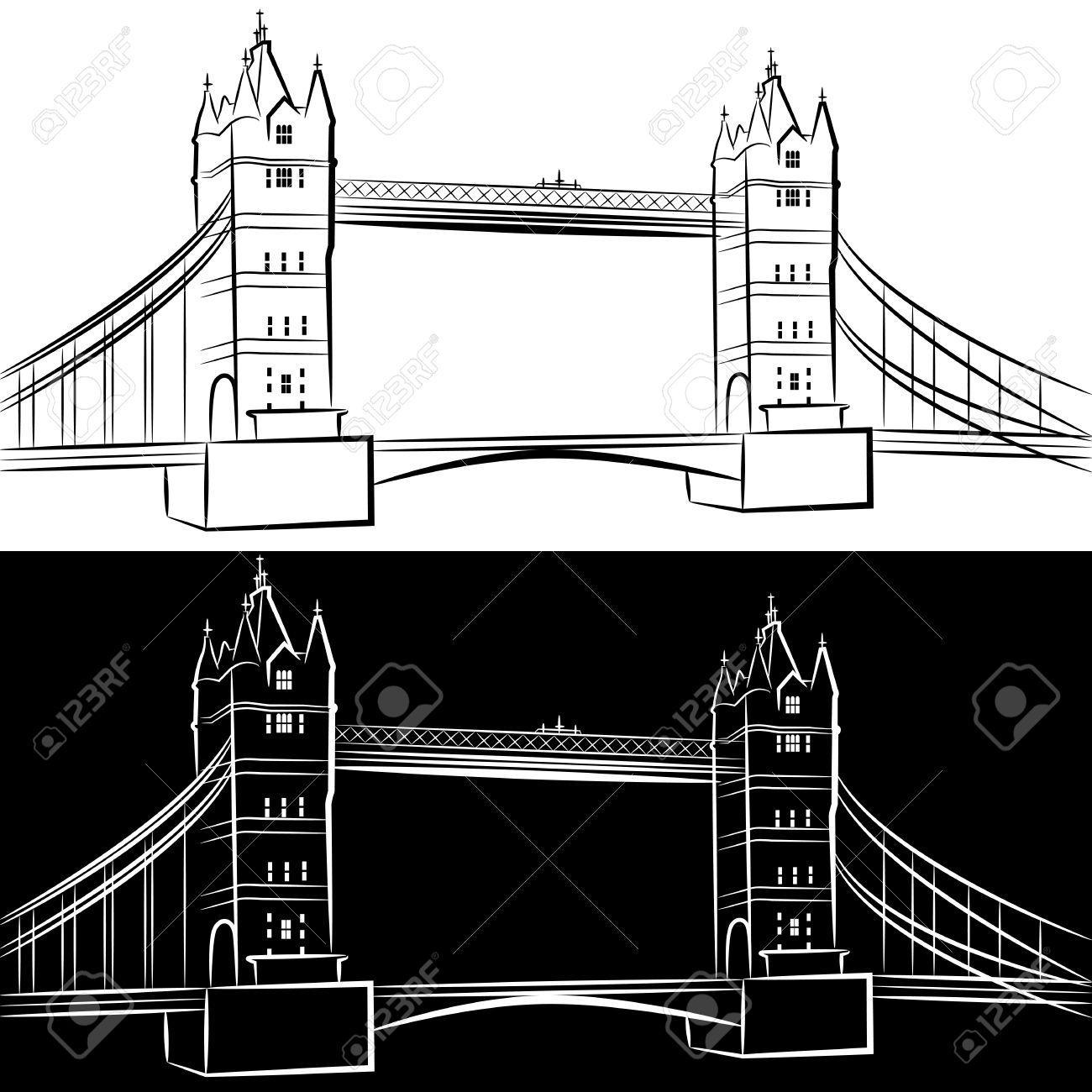 An image of a london bridge drawing set. Stock Vector - 14662057