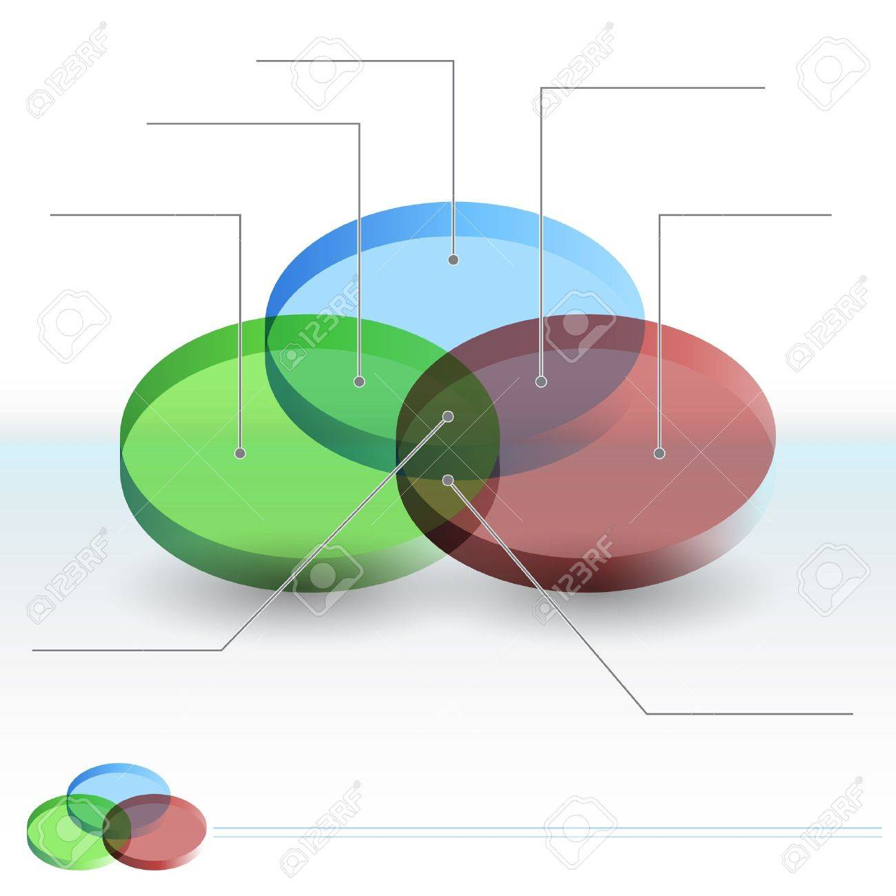 an image of a 3d venn diagram sections chart  stock vector - 14770191