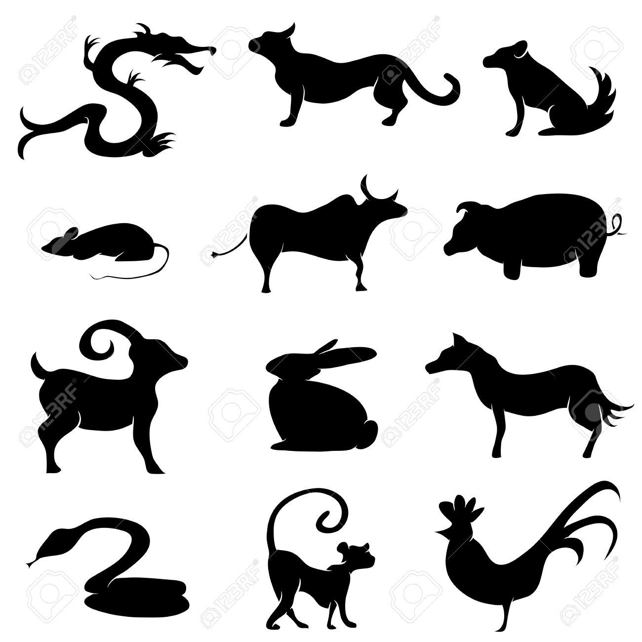 Une Image De Silhouettes D'animaux Astrologie Chinoise. Clip Art ...