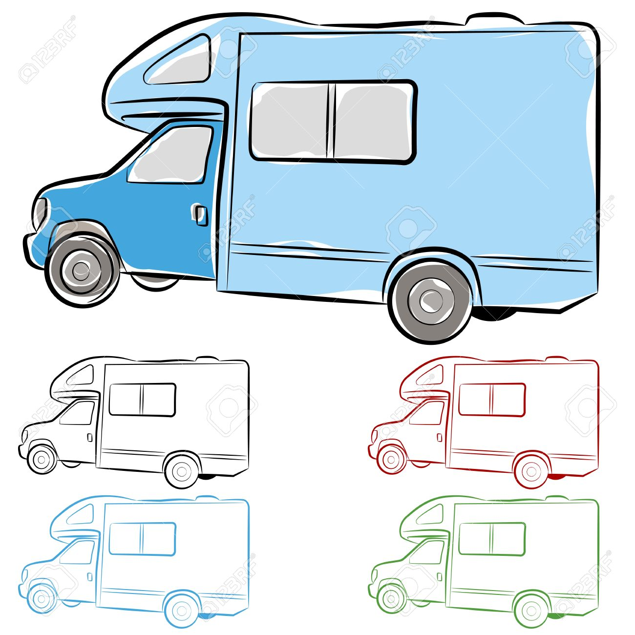 An Image Of Rv Camper Drawing Stock Vector