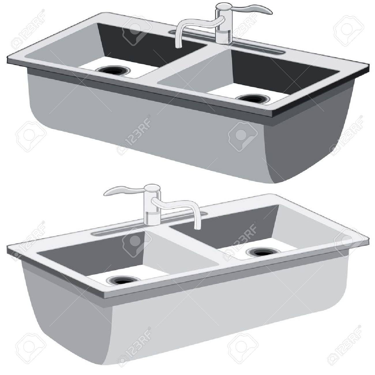 An image of a kitchen sink. Stock Vector - 17336173