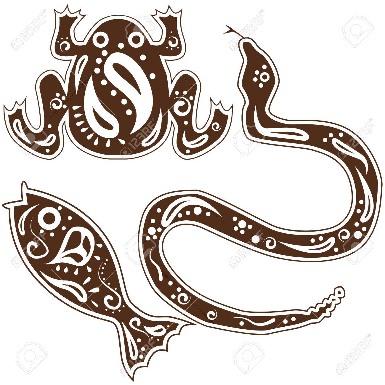 An image of tribal snake, fish, frog animal art. Stock Vector - 17336176