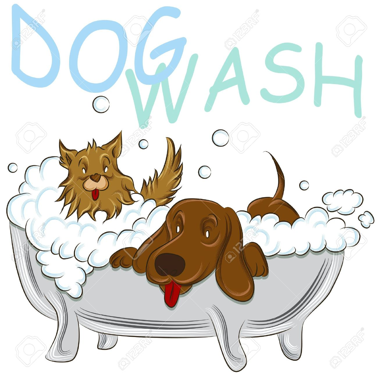 an image of a two clean dogs in a bathtub royalty free cliparts