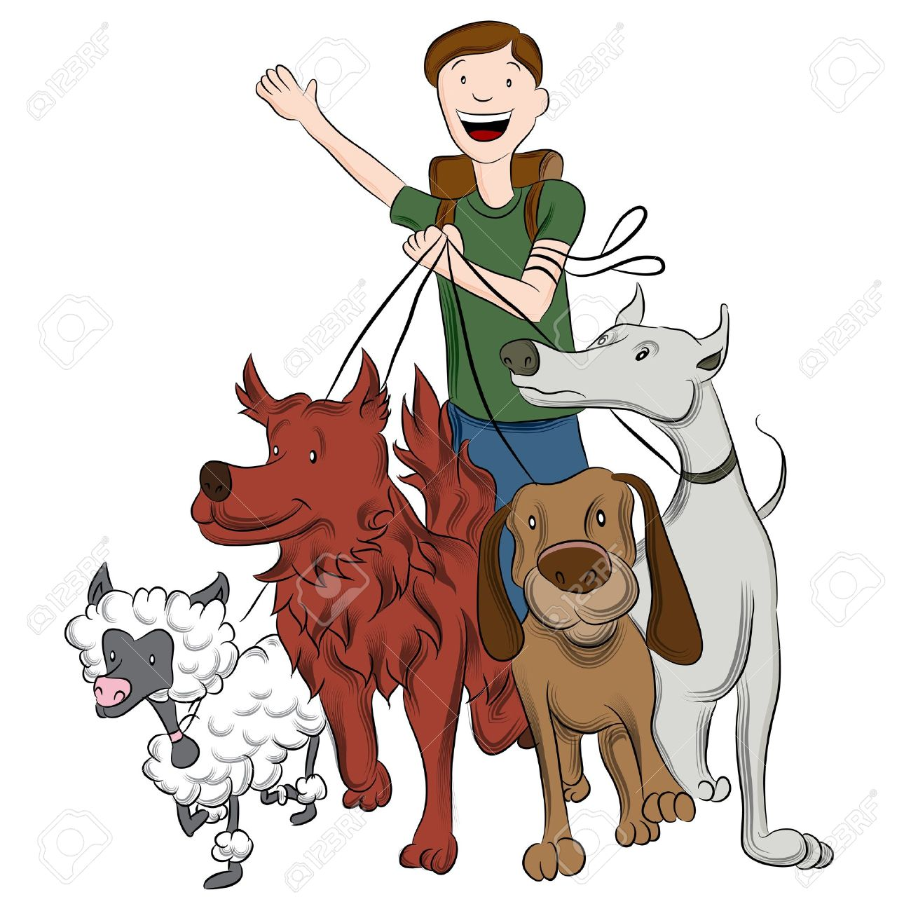 an image of a man walking dogs royalty free cliparts vectors and rh 123rf com clipart dog walking dog walking clipart free