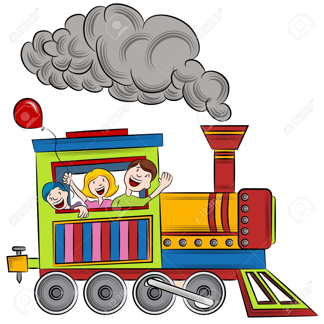 An Image Of A Children Riding On A Train Royalty Free Cliparts