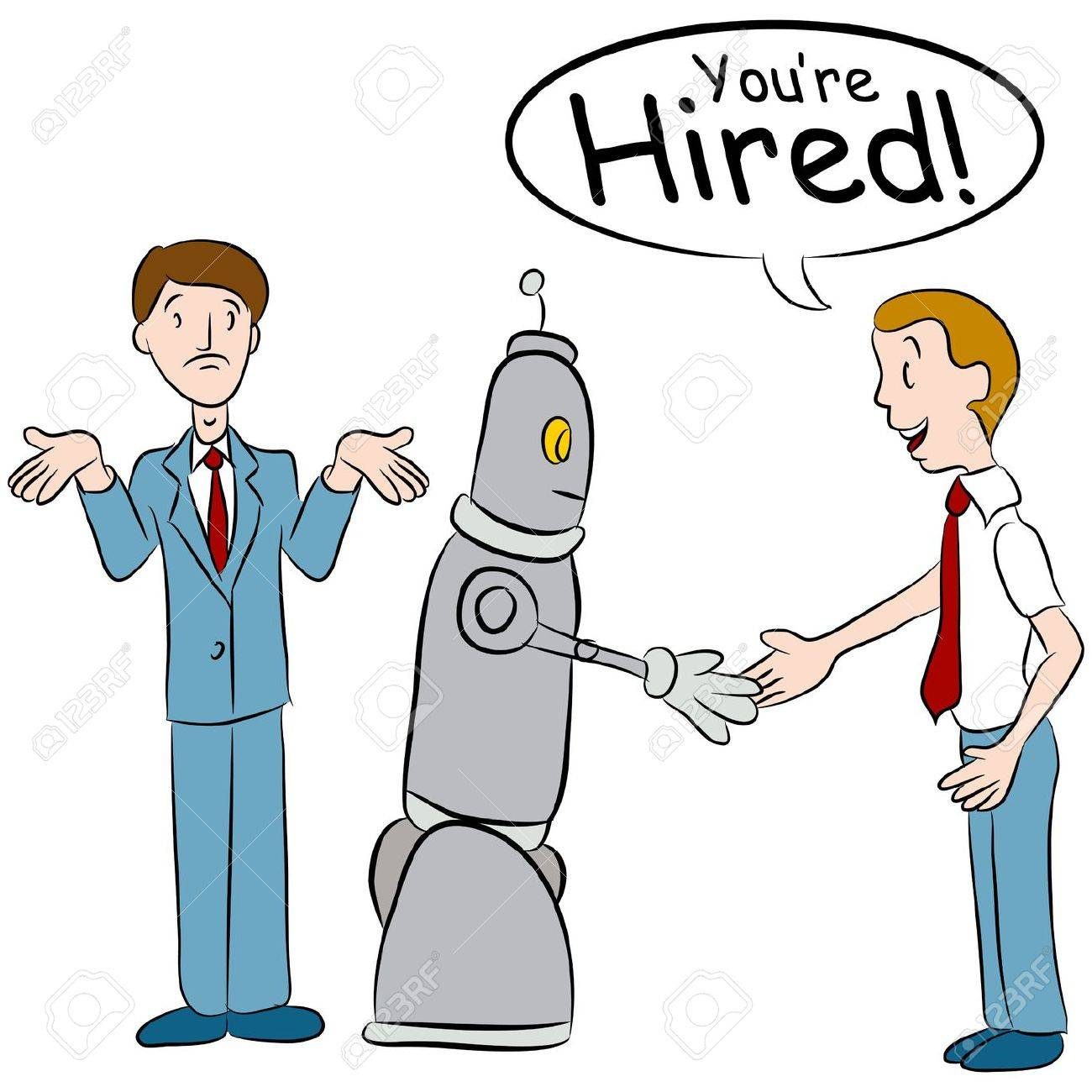 An image of a man losing a job to a robot. Stock Vector - 17627087