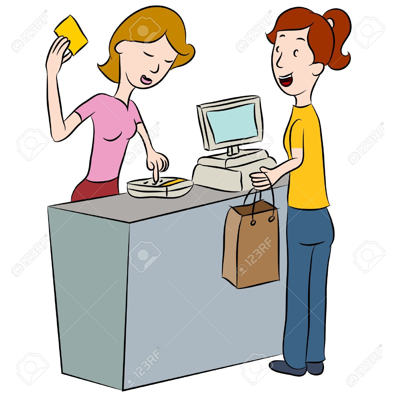 An image of a woman entering her PIN number at a store counter. Stock Vector - 18025588