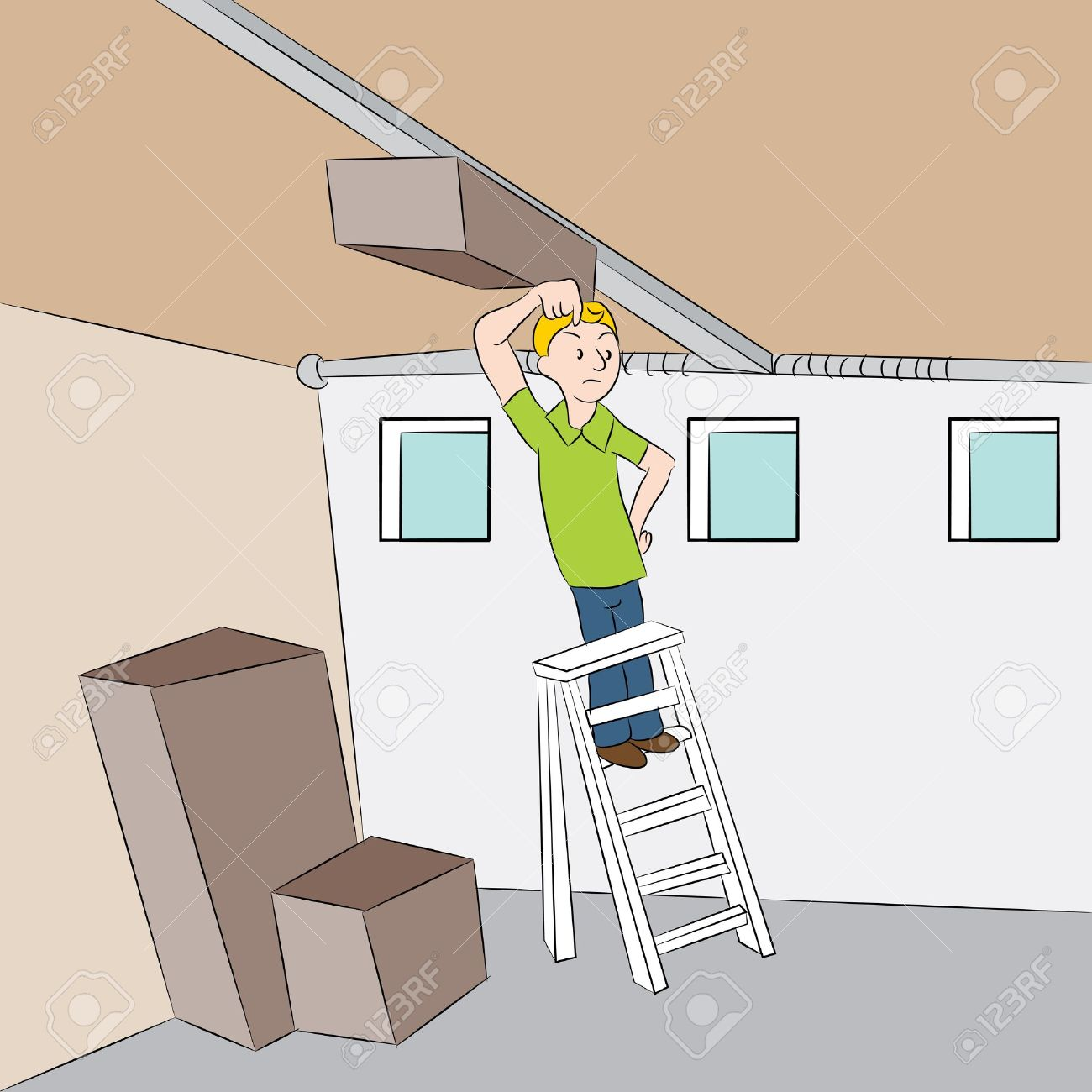 Garage doors clipart - An Image Of A Man Trying To Repair His Garage Door Opener Stock Vector
