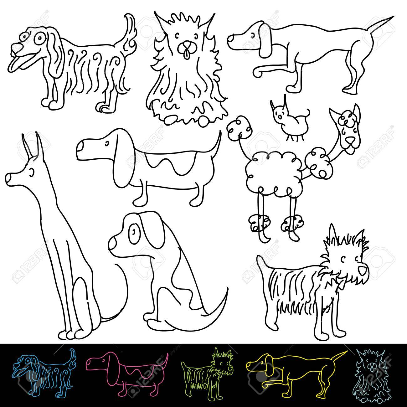 An image of a set of dog breeds. Stock Vector - 22086606