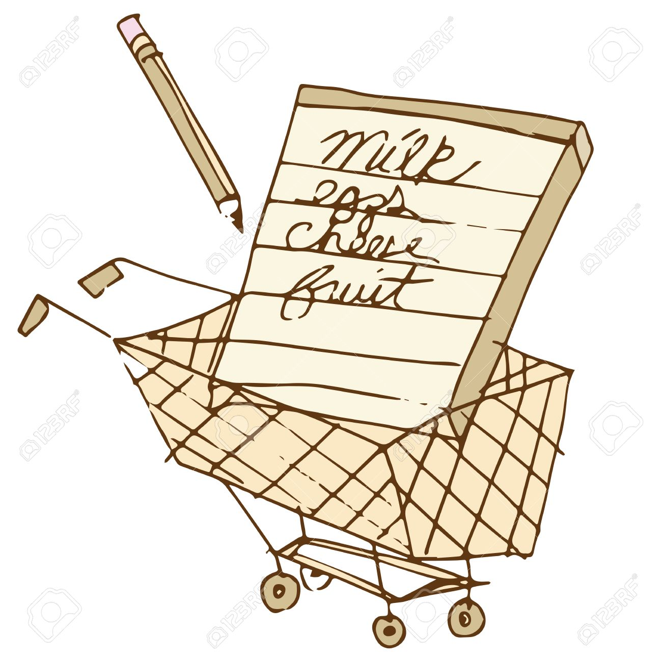an image of a shopping list in a cart. royalty free cliparts