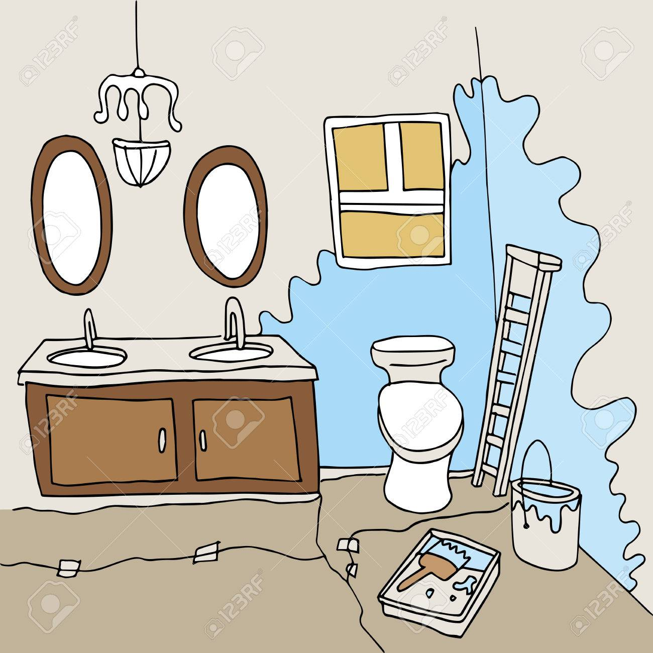 Ein Badezimmer, Gemalt. Lizenzfreie Bilder   28379896