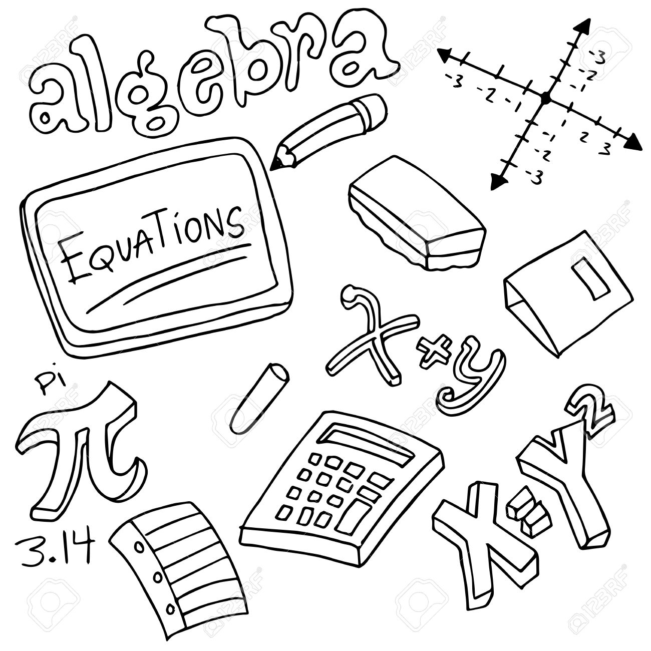 An Image Of Algebra Symbols And Objects Royalty Free Cliparts