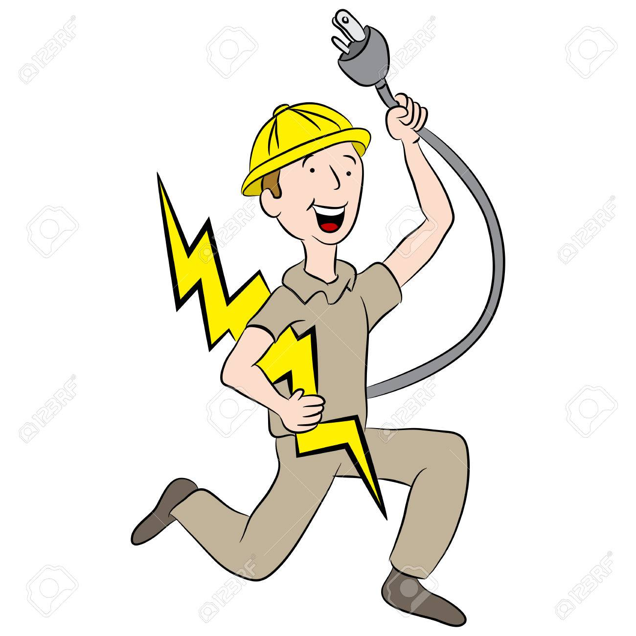 Cartoon Male Electrician Holding A Plug And Lightning Bolt. Royalty ...