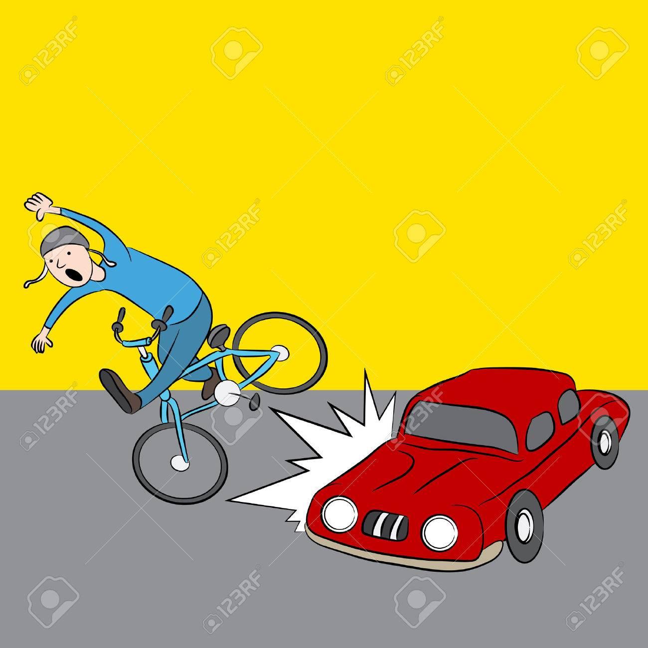 An Image Of A Cartoon Car Hitting A Pedestrian On A Bike