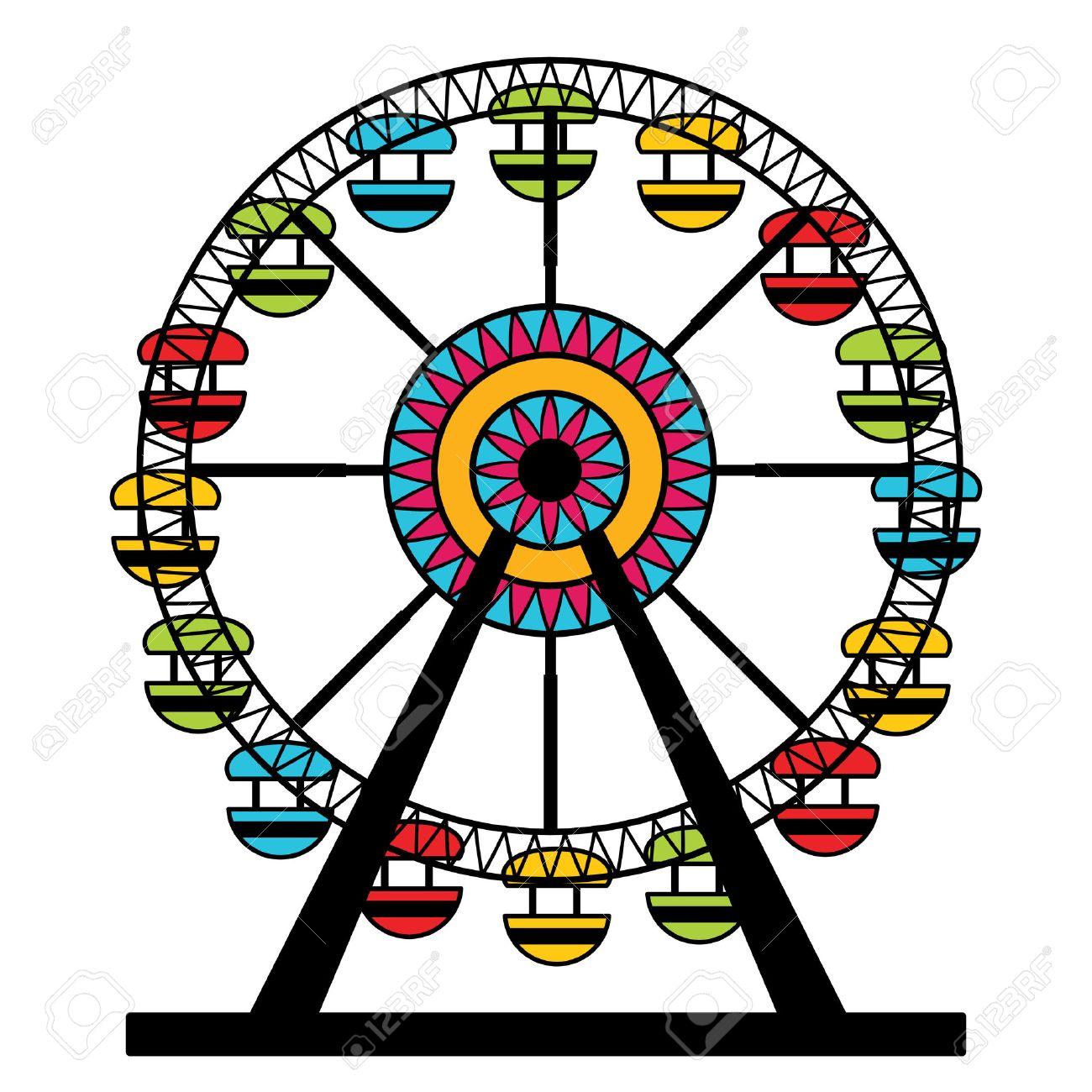 an image of a colorful ferris wheel amusement park ride royalty rh 123rf com ferris wheel clipart black and white ferris wheel clipart