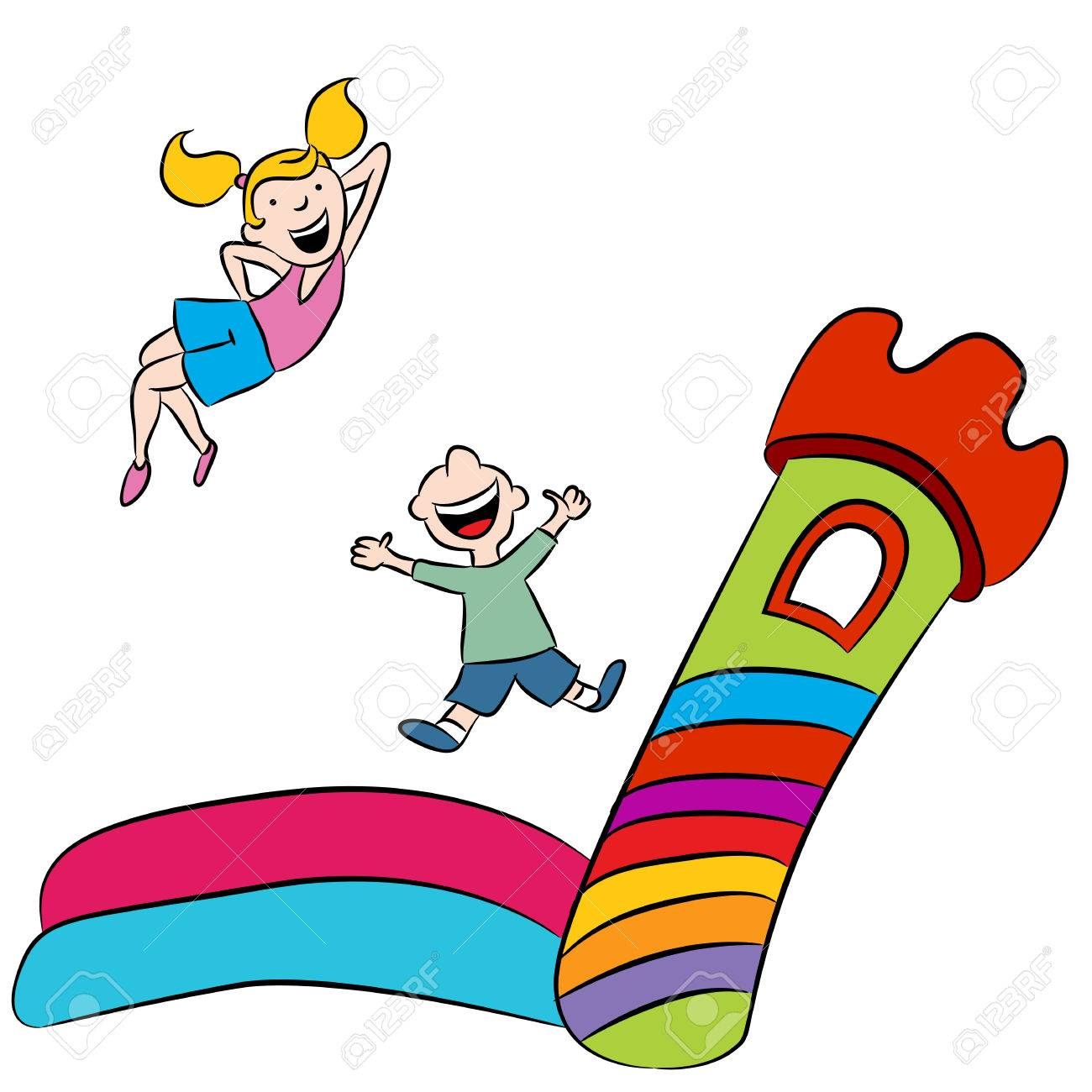 an image of children playing on a bounce house royalty free rh 123rf com bounce house clipart black and white bounce house clip art free