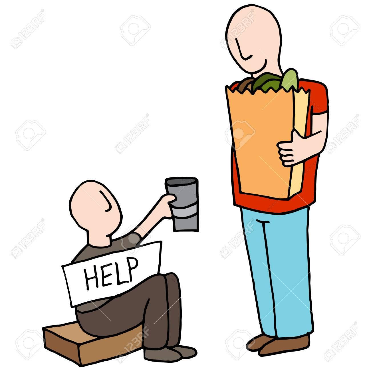 お客様からお金を求める乞食のイメージ。 ロイヤリティフリークリップ