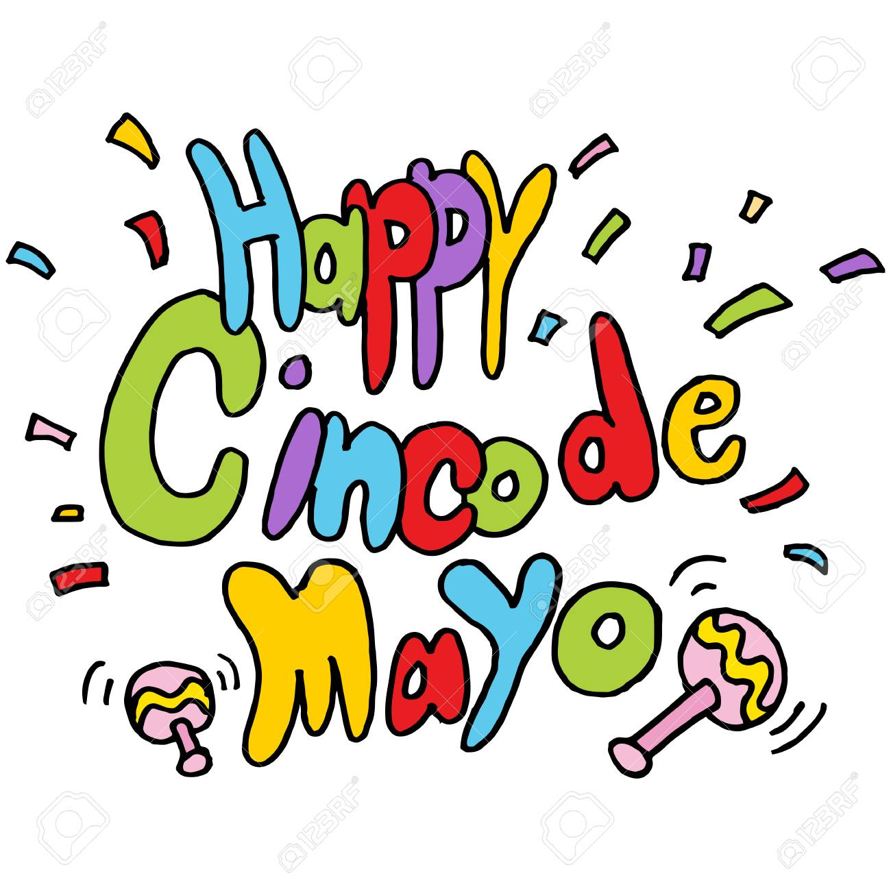 An Image Of A Happy Cinco De Mayo Text Message. Royalty Free ...