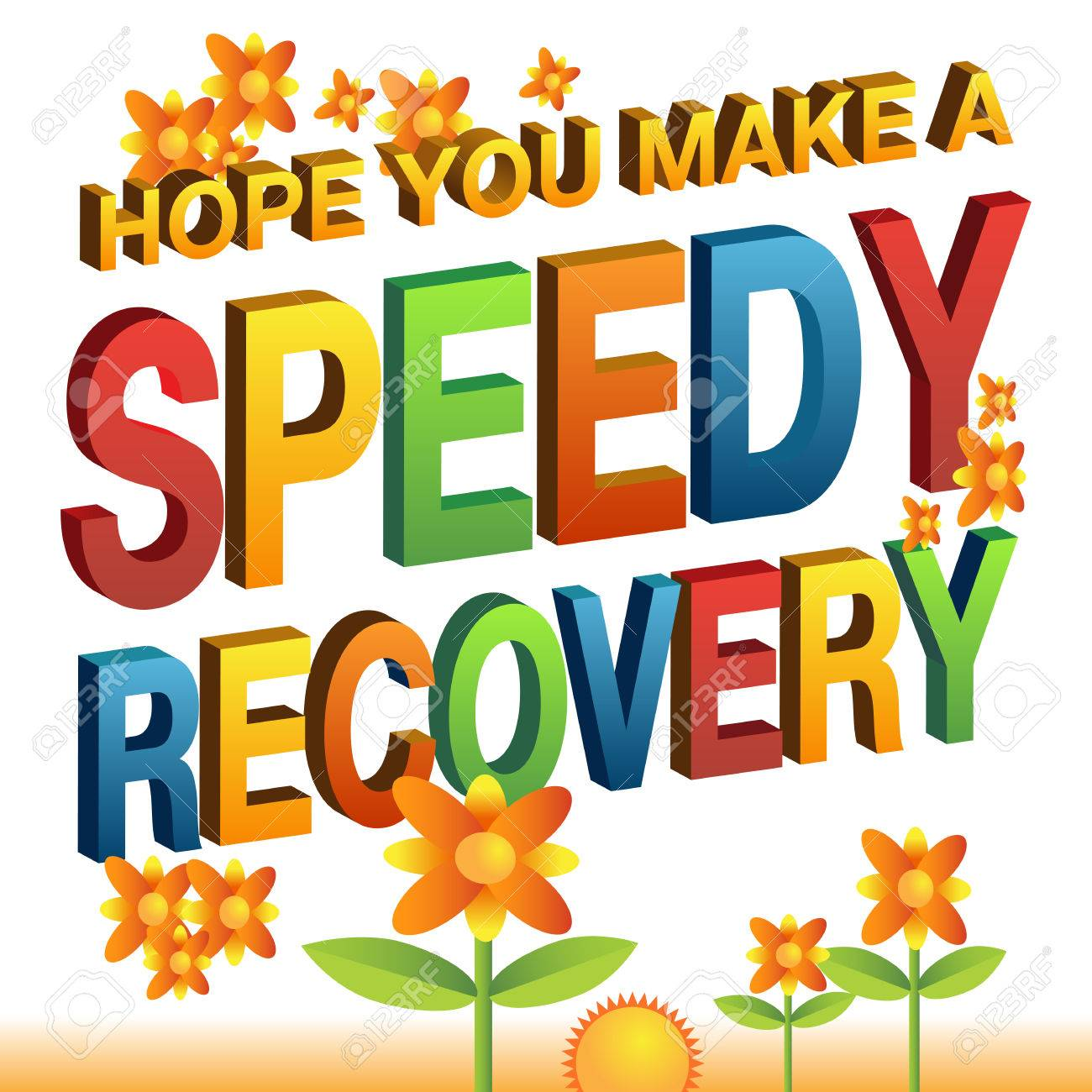 an image of a hope you make a speedy recovery message stock vector 56354813