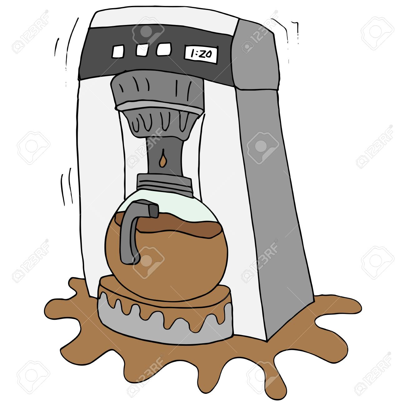 An Image Of A Broken Coffee Maker Royalty Free Cliparts Vectors