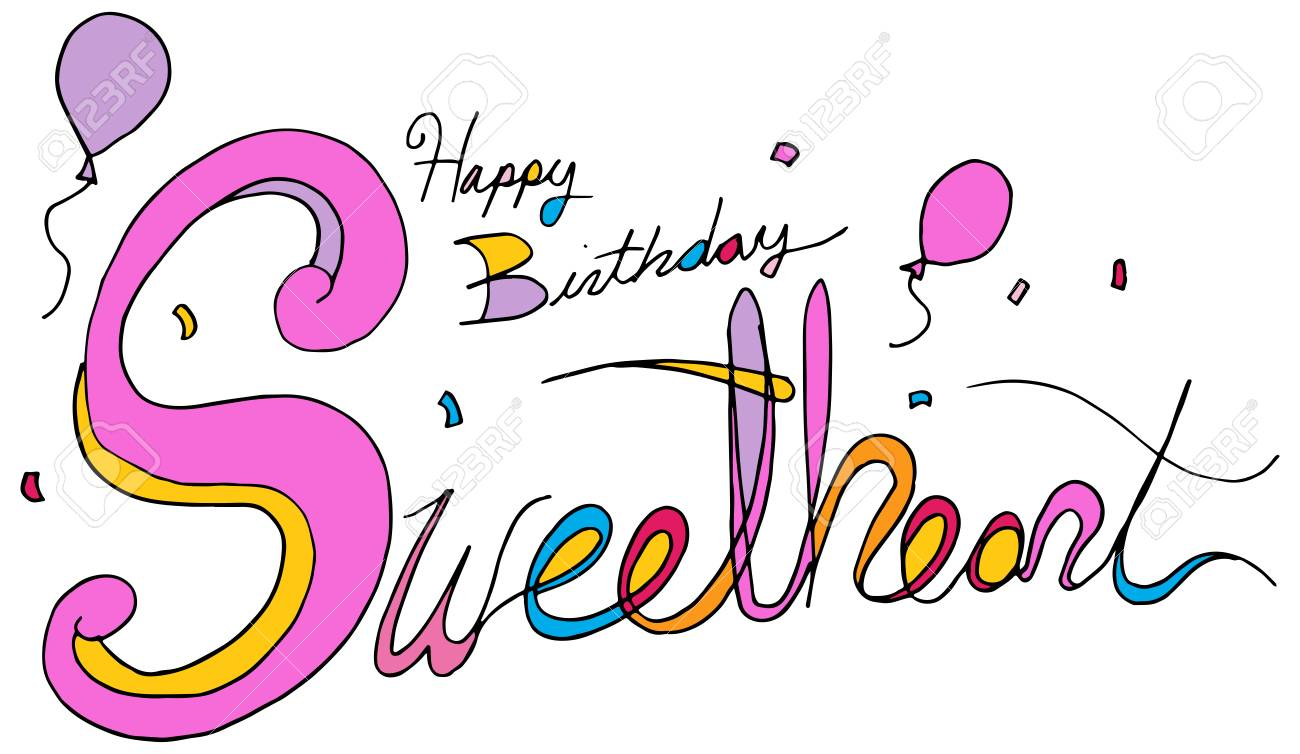 An Image Of A Happy Birthday Sweetheart Balloon Confetti Text