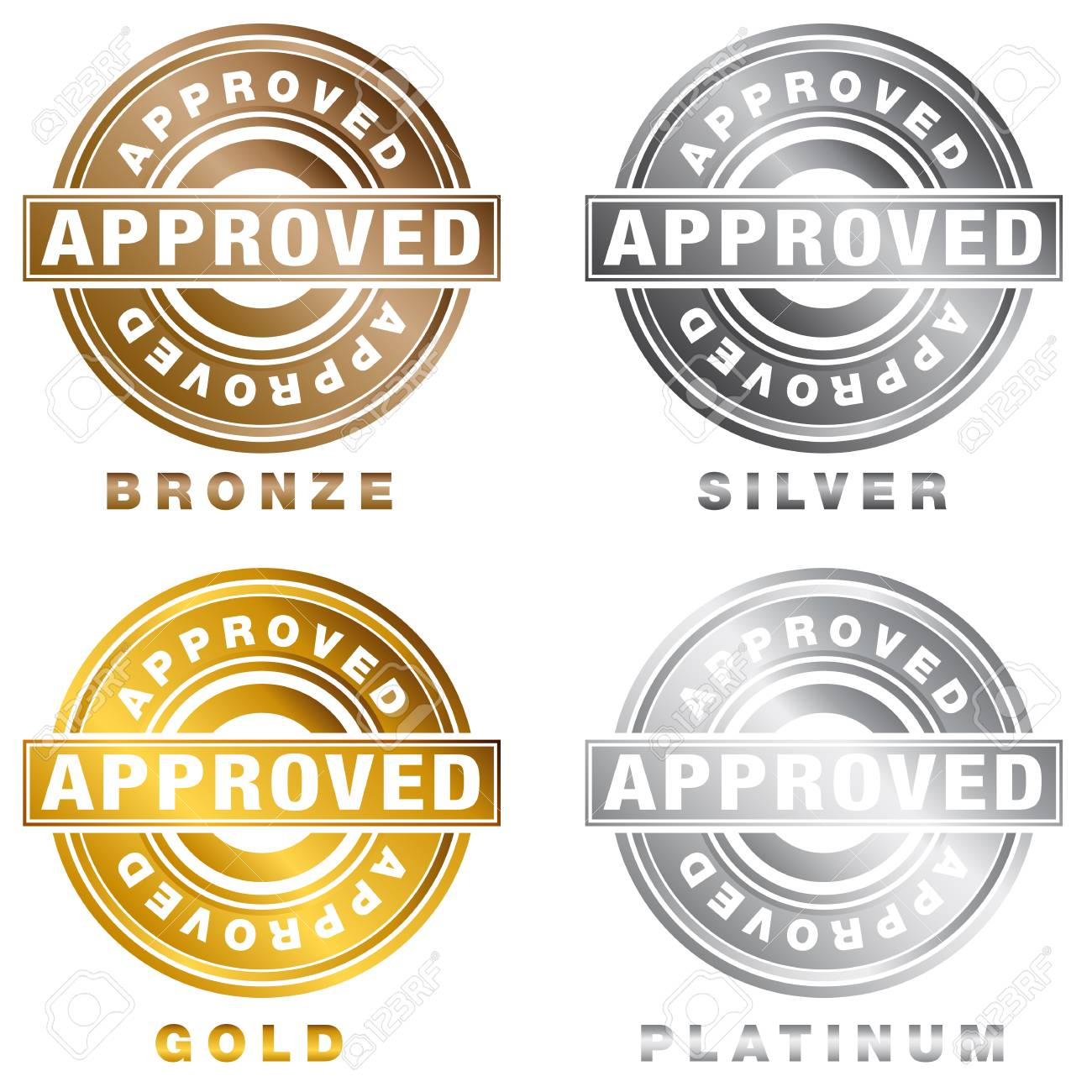 An Image Of A Bronze Silver Gold Platinum Approved Stamp Set Isolated On White Stock