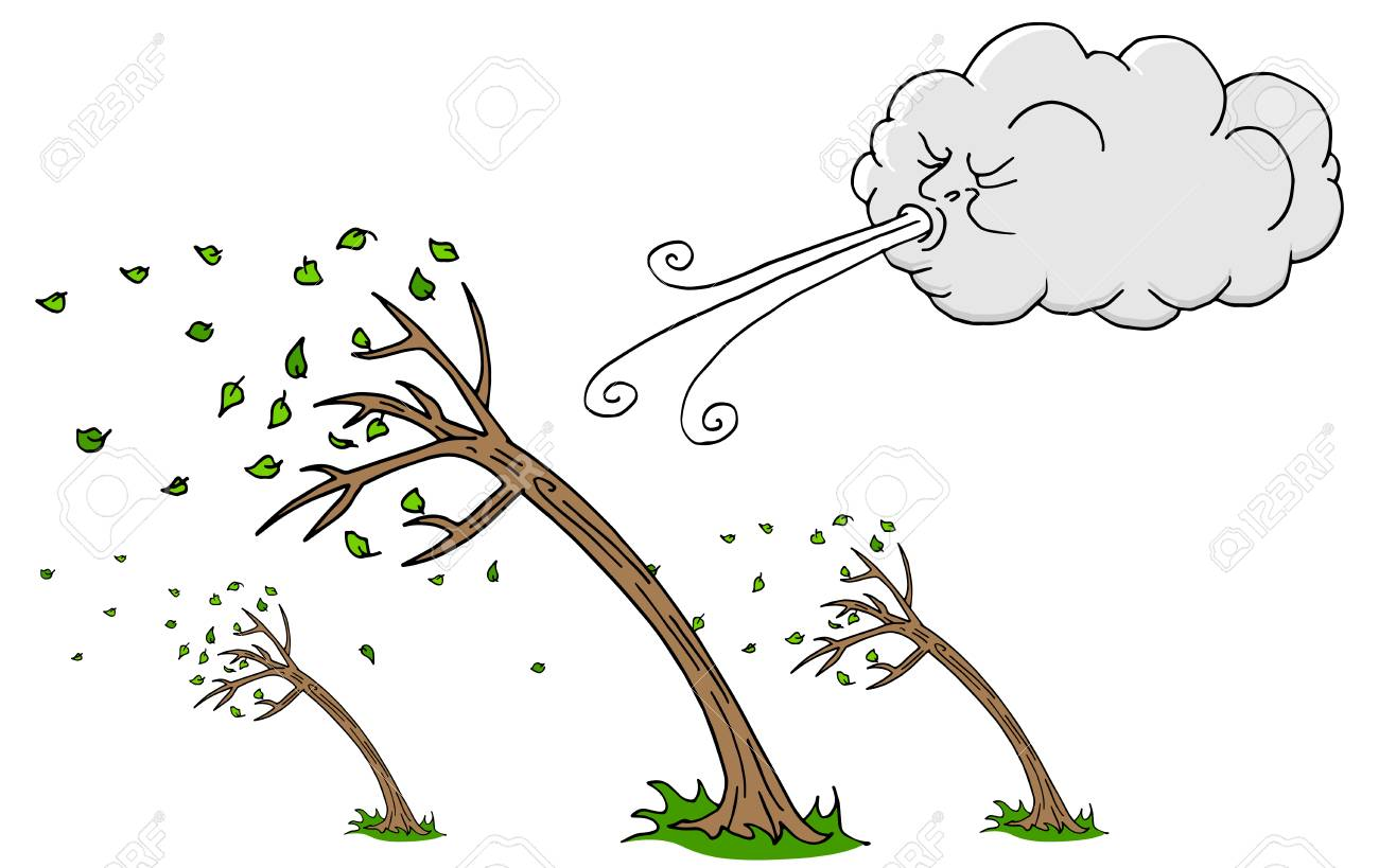 An Image Of A Windy Day, Trees And Cloud, Blowing Wind Cartoon ...