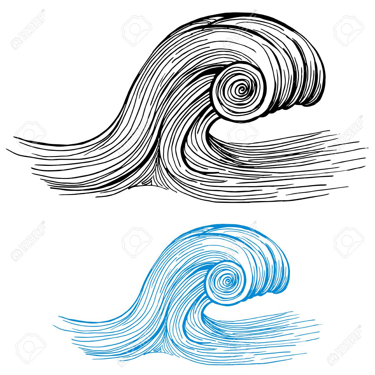 An image of a Ocean Wave Drawing Design Element isolated on white