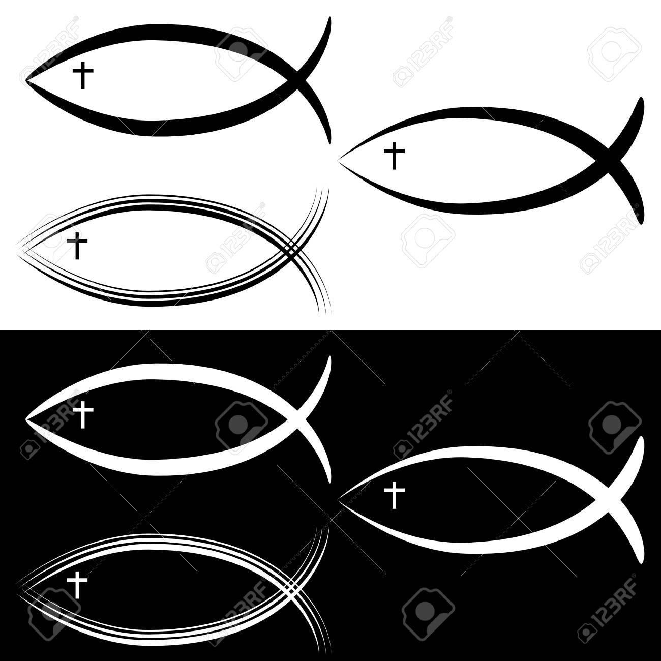 An Image Of A Christian Jesus Fish Symbol Set Black White Royalty